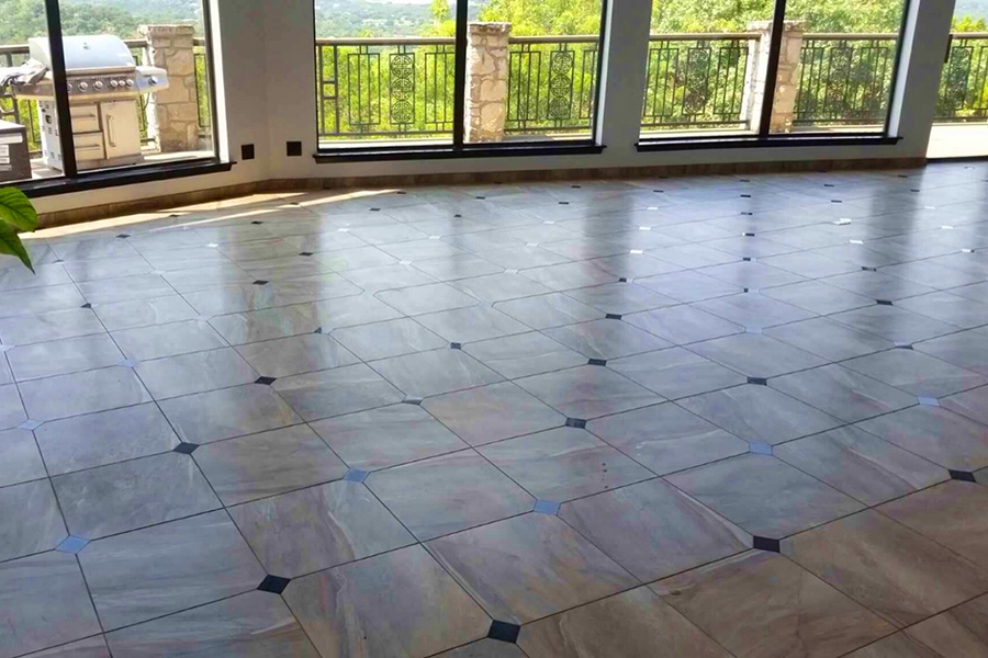 tile floor with diamond inserts